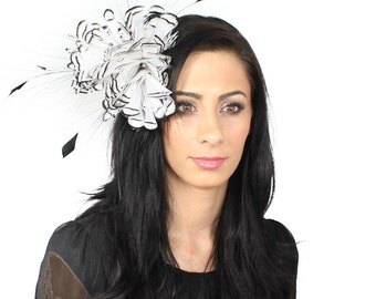 Partridge Black and White  Fascinator Kentucky Derby or Wedding Hat With Headband