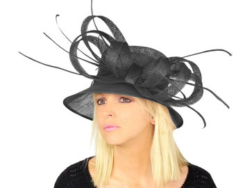 Fab and Fun Black Sinamay Hat With Bow and Feather Trim for Kentucky Derby and Ascot - Different Colours Available