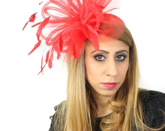 Red Black Velvet Fascinator Hat for Weddings, Races, and Special Events With Headband
