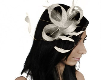 Four Loops Ivory Fascinator Hat for Weddings, Races, and Special Events With Headband
