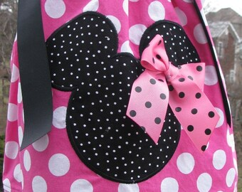 Pink and black mouse pillowcase dress add any name for free, birthday pillowcase dress,