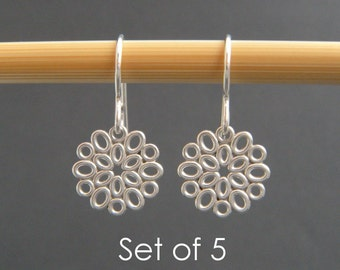 """bridesmaid earrings: SET OF 5. small silver filigree ovals. sterling silver dangle. flower drop. bridal gifts. wedding jewelry. 1/2"""""""
