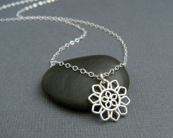 silver flower necklace. small silver necklace. sterling silver. simple. modern filigree. floral. delicate. everyday. dainty jewelry 1/2""