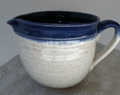 Blue and White BBQ Basting Bowl - 4 Cup Stoneware Mixing Bowl - Gift for Him