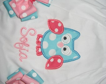 Baby girls Owl bloomers, Hot pink and aqua owl personalized bloomers with bows