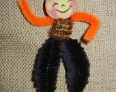 Vintage Style Chenille Pumpkin Head with Hat Ornament