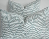 KRAVET-  BOTH SIDES- Decorative Designer Cover - Tahitian Stitch Horizon-Seafoam Green / Ivory Throw / Lumbar Pillows