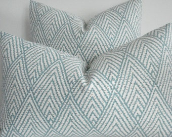 KRAVET-  BOTH SIDES- Decorative Designer Cover - Tahitian Stitch Horizon-Seafoam Green / Ivory Throw / Lumbar Pillows