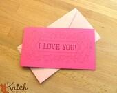 Valentine Card, Hot Pink, Magenta, I love You Greeting