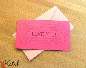 Set of 10 Valentine Card, Hot Pink, Magenta, I love You Greeting