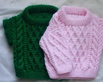 Treabhair baby aran sweater and pullover, PDF knitting pattern