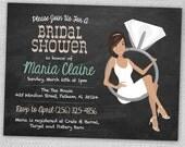 Chalkboard Bride and Engagement Ring Bridal Shower Cards (Set of 12)