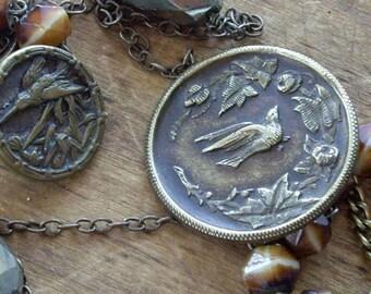 Vintage Assemblage Necklace Birds, Buttons, Brass, Pyrite