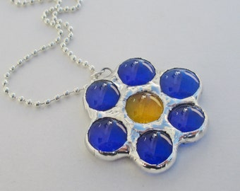 Blue Daisy Flower Stained Glass Pendant Necklace
