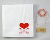 Heart & Arrows Valentine's Handkerchief, 1 Silk-Screened Sneezy Sheet