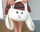 Rabbit Easter Basket Crochet Pattern Bunny With A Hat PDF INSTANT DOWNLOAD