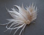 Brides Feather Hair Piece Wedding Fascinator Hair Clip IVORY and WHITE bridal hairpiece