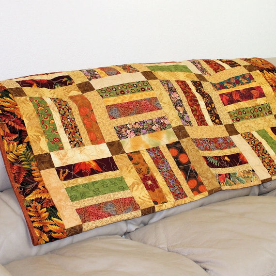 Autumn Leaves Lap Quilt or Sofa Throw in Brown, Rust and Green