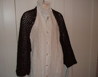 Ladies/Teens Crocheted Metallic Brown Shrug