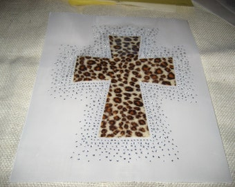 FREE SHIPPING Diy Heat Transfer of a Gorgeous Brown Leopard Cross Surrounded with BLING