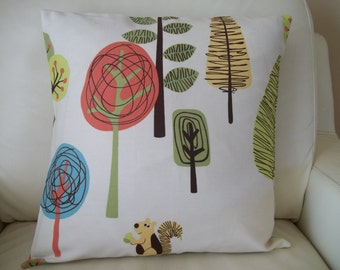 Modern Trees Pillow Cover ~16 x 16 Pillow Cover ~ Woodland Trees ~ Cushion Cover