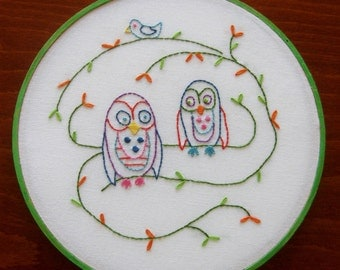 Owl Embroidery Wall Art Linen Hoop Art Bird Aqua Coral Lime Purple Pink