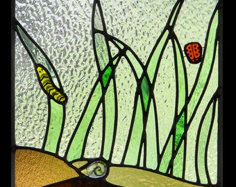It's a Small View Stained & Fused Glass Panel