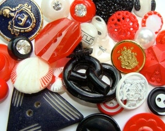 Antique Buttons Vintage Glass Buttons Rhinestone Buttons 3 Dozen Regina's Red Hot Collection N0 128