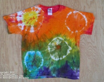Rainbow Spots N Dots Tie Dye T-Shirt (Fruit of the Loom Size Youth L 14-16) (One of a Kind)
