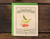 Pepper Seeded Letterpress Greeting Card - Vegetable Garden Plantable Eco Stationery