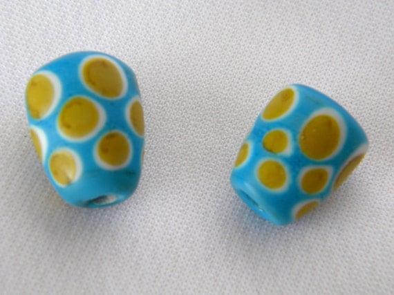 Glass artist designed lampwork end caps cones turquoise