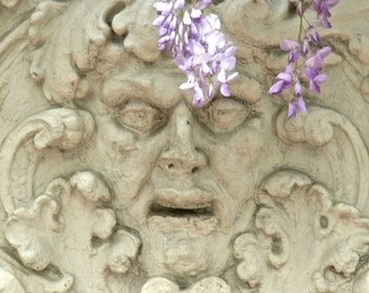 Green Man Garden Photography, Bacchus Pan Greek God Garden Art Print, Purple Wisteria Architectural Detail, Cottage Chic Spring Wall Decor