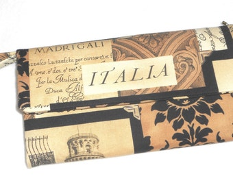 Italy Wallet / Sepia Postcard Italia Wristlet / Clutch / Check Book / Cell Phone