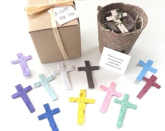 12 Flower Seed Cross Party Favors, First Communion, Baptism, Christening, Plantable Seeded Crosses by Nature Favors