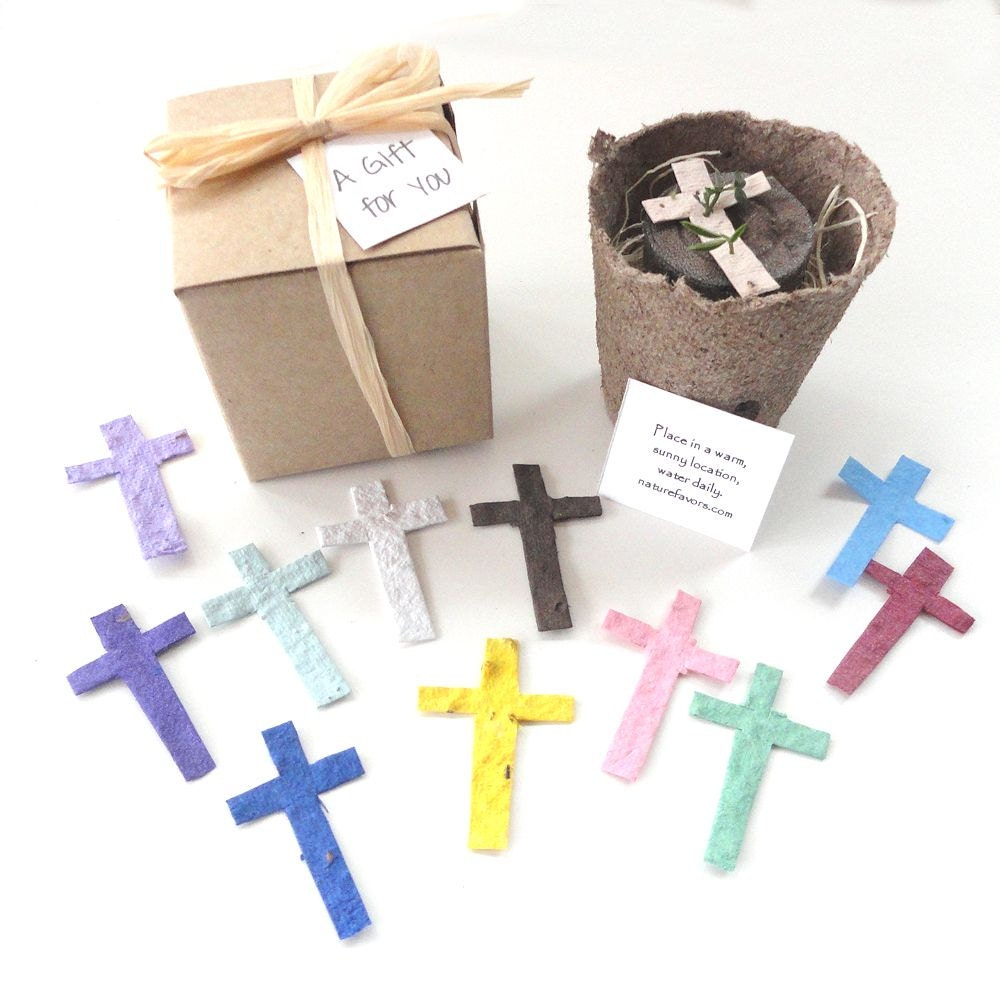 12 Flower Seed Cross Party Favors First munion Baptism