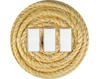 Nautical Sisal Rope Triple Decora Rocker Switch Plate Cover