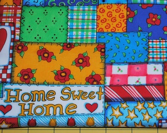 Fat Quarter Home Sweet Home Bright Colorful Patchwork Fabric