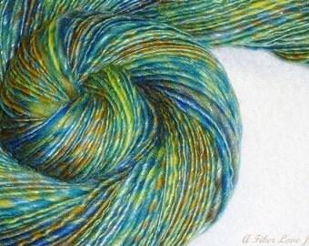 Sea Glass Handspun Art Yarn - 196 yds - Thick and Thin - Single Ply - Knitting - Crochet - Weaving - Fiber Arts - Mixed Media - Textile Arts