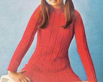 Vintage French knitting crochet pattern book by Marabout album no 25,women,men,teen,children tops Tricoter et crocheter
