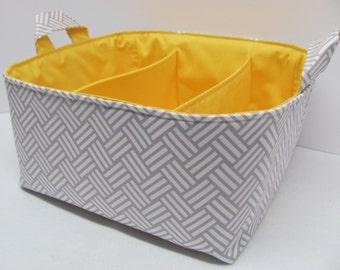 NEW Fabric Diaper Caddy - Fabric organizer storage bin basket - Perfect for your nursery - Cotton Sateen Tatami Grey