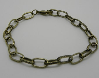 Antiqued bronze textured oval Lobster Clasp Chain Bracelet  is ready for Charms or Dangles  Ships from USA  Immediately. (Br035)