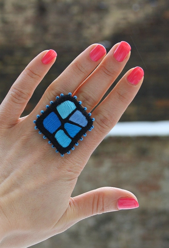 """Hand Embroidery Textile Ring  """"Color Mosaic - Blue"""""""