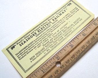 Seashore Electric Railway  Kennebunkport, Maine Souvenir Ticket No. 923202  Maine. Collectible. Souvenir. History. Railways. Trolleys.
