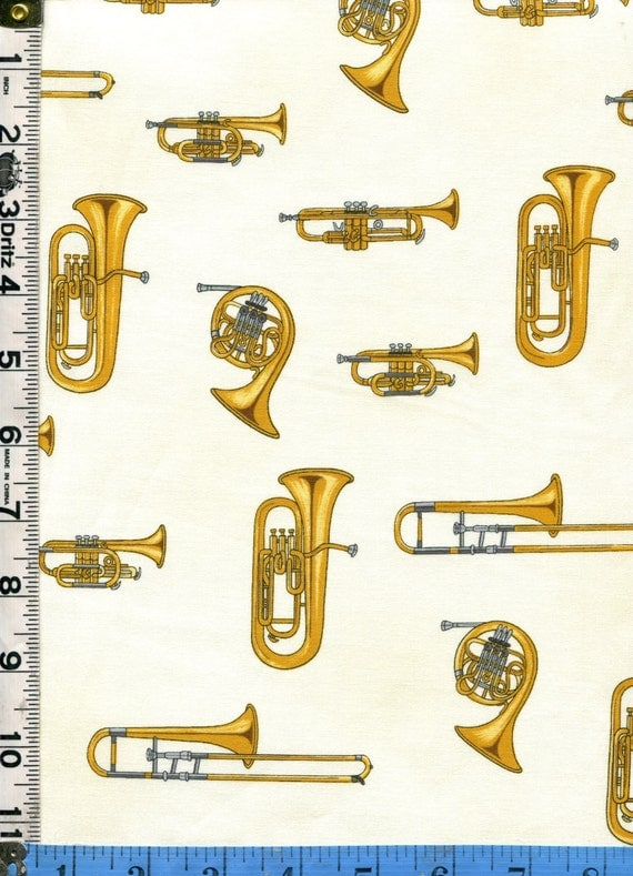 Fabric Andover Brass family musical instruments Tuba trombone