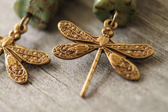 Dragonfly and betel nut earrings