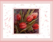 Red tulips floral nature notecards Greeting Card Sets  Stationery Party Set of twelve Invitations Valentine gift Ideas