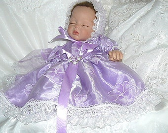 Lavender Blossoms Organza DRESS for REBORN  Doll or BABY 0-3 mths