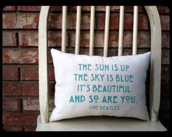 The Beatles- Dear Prudence, Customizable double sided lyric pillow