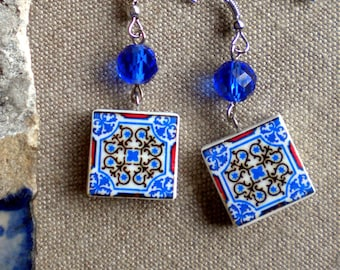 Portugal Antique Azulejo Tile Replica, Blue and Red - Ovar  (see photo of actual facade) waterproof and reversible 440