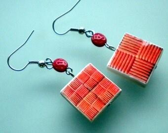 Portugal  Antique Tile Replica Earrings,  Aveiro Pink - waterproof and reversible